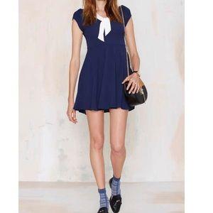 Nasty Gal White Collar Blue Dress
